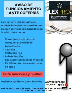 Aviso de funcionamiento ante COFEPRIS